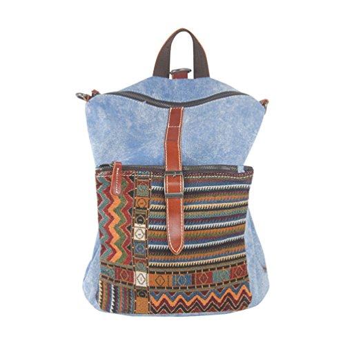 MissFox Uomini Zaino Classico Retrò Canvas Bag Multifunzione Messenger Bag Viaggio Sacchetto Di Svago Blu