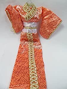 Totally Unique Peach Design Print Japanese Kimono Barbie Sindy Toy Doll Geisha Outfit Dress - Posted from London By Fat-Catz