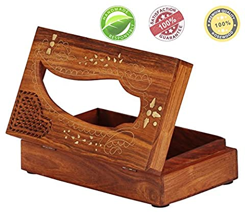 Tissue Box Cover [27.7 x 15.7 cm] - Cool, Wood Tissue Paper Holder with Beautiful Carving & Brass Inlay Work, Custom-Made to Fit Standard Sized Low-Count Tissues / Tissue Boxes, Handmade in Rosewood - Unique Designer Handmade Wooden Tissue Holders / Tissue Dispensers / Tissue Box Covers - Best for Home Decor
