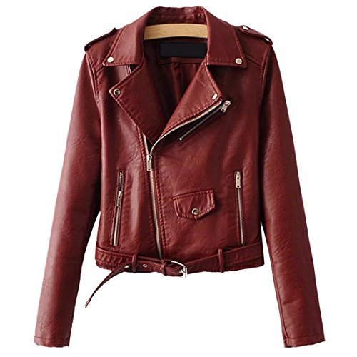 Frauen Mode Stickerei Blumendruck PU Leder Bomberjacke Mantel Reißverschluss Grundlegende Moto Jacke Oberbekleidung 5 Farbe (Blazer Kerbe-kragen)