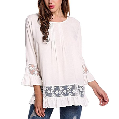 KaloryWee Women Lace Speaker Bell Sleeve Flare Frill 3/4 Sleeve Blouse Tops T-Shirt