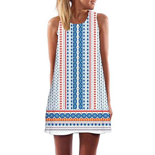 Wanyang casual da donna estate stampa slim senza maniche canotte spiaggia mini vestito (bianca alquanto trasparente)