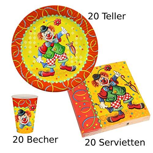 es Partyset Clown, 20 Pappteller, 20 Pappbecher, 20 Servietten ()