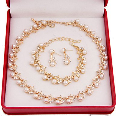 zormey Fashion Frauen Kostüm Party vergoldet Nachahmung Pearl Jewelry Sets (Kostüm Pearl Bridal Schmuck)