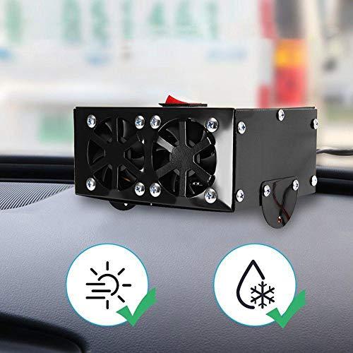 Riloer Ventola per auto Riscaldamento rapido Antigelo e mini ventola di raffreddamento Angolo regolabile 2 in 1 Portatile 12V 200W