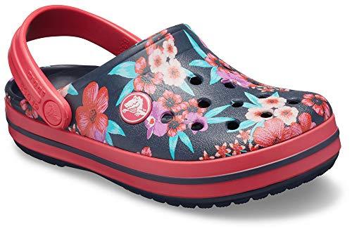 crocs Kinder Sandale Crocband Flower Print Clog K 205898 Navy/Poppy 33-34 Mädchen Poppy