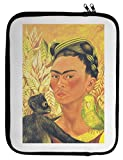 Self Portrait with Parrot and Monkey Frida Kahlo Painting Laptop Case 13