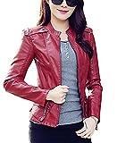 Brinny Damen Turndown Collar Dünnen Sitzes Zip Jacket (EU 36/Asia L, Rot 2)