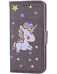 Huawei P10 Lite hülle Einhorn Serie Lederbezug mit Wallet Card Slot Funktion und funkelnden Glitter Star-Muster handyhülle.-grau