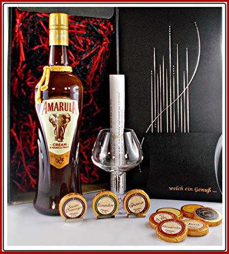 Geschenk Amarula Fruit Cream Likör mit 9 Edel Schokoladen + Likörglas von Spiegelau im edlen Geschenk Karton mit Schleife, kostenloser Versand