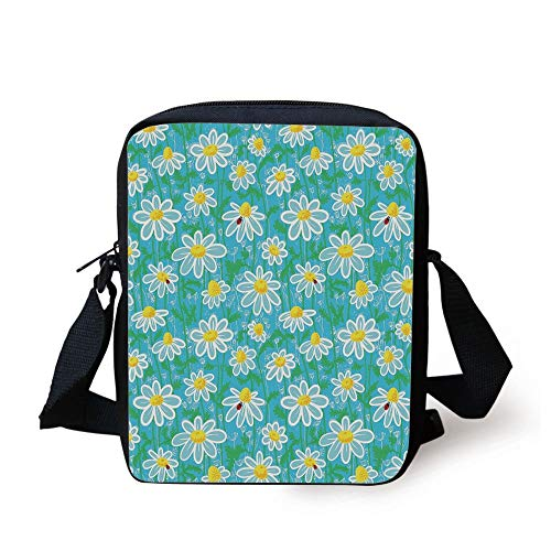 Aqua Blossom (Yellow and Blue,Meadow Art Pattern with Ladybirds and Chamomile Daisy Blossoms,Aqua White Marigold Print Kids Crossbody Messenger Bag Purse)