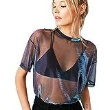 beautyjourney Maglietta Donna Maniche Corte Sexy Donne Cave Trasparente Scollo Rotondo Manica Corta T-Shirt Camicetta Top -Maglietta Manica Corte Ragazza estive (L, Nero)