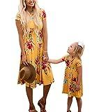 Parenting Vêtements Mère Fille Impression Jupe À Manches Courtes Imprimer Robe Printemps Eté Plage Jupe Maman Bébé Fille robe