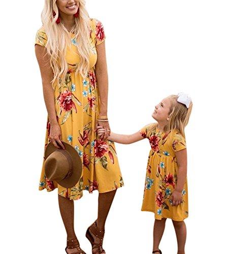 Und Kostüm Mama Passenden Tochter - Familie passendes Kleid Mama Baby Strandkleid Kurzarm Print Minikleid Mädchen Frau Kleid