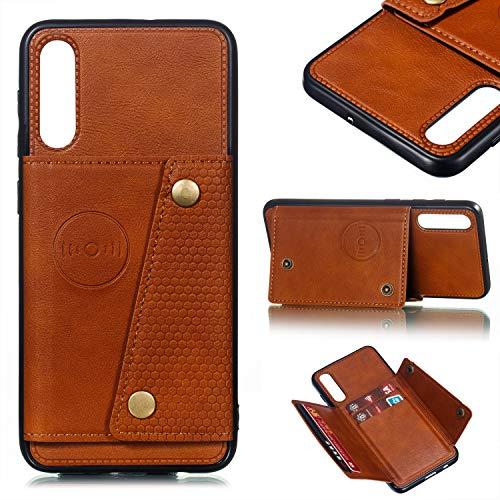 Preisvergleich Produktbild Jorisa Flip Brieftasche Handyhülle für Samsung Galaxy A50, Retro Dünn Leder Stand Hülle mit Kartenhalter und Magnetische Autohalterung Funktion Weich Silikon Schutzhülle, Braun