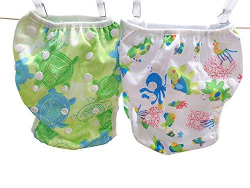 Three Little Imps 2er Set gemusterte Baby Schwimmwindeln - 1-2 Jahre - Meeres Thema