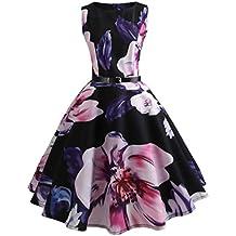 Vestito da donna �� Fami Womens Vintage nota musicale stampa aderente senza maniche casual partito di promenade Swing Dress (Viola, L)