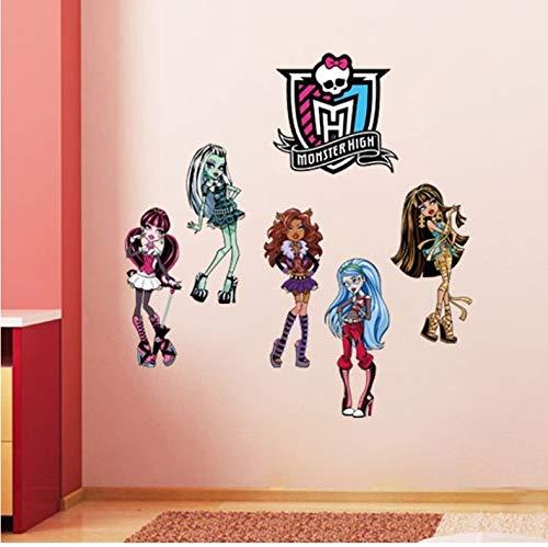 Monster High Beliebte Cartoon Wandaufkleber Für Kinderzimmer Schlafzimmer Kunst Pvc Wandtattoo Wohnkultur Kunst (Travel Monster High)