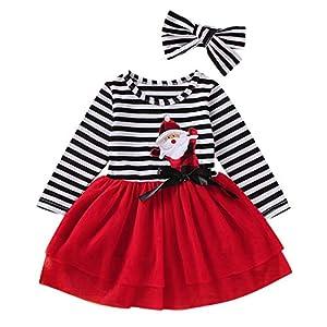 Tefamore Navidad Niña Vestido de Mameluco de Manga Larga con Estampado de Cervatillo para bebé Infantil Trajes de… 11