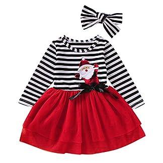Vestidos Niña, ASHOP Vestido de Niñas Casual Dibujos Animados de Navidad Santa Claus Estampado a Rayas Falda de Malla de Manga Larga + 1PC Venda de Pelo 1-5 años