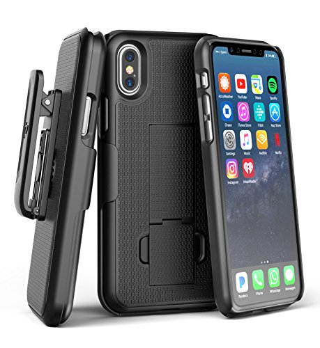 iPhone X Edition Belt Clip Case & Screen Protector, Encased Slim Fit Holster Shell Combo (w/ Rubberized Grip Finish) for Apple iPhone X (Black)