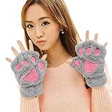 #8: Aniwon Fingerless Gloves Cat Claw Bear Paw Style Winter Plush Furry Mitten for Women Grey(new)