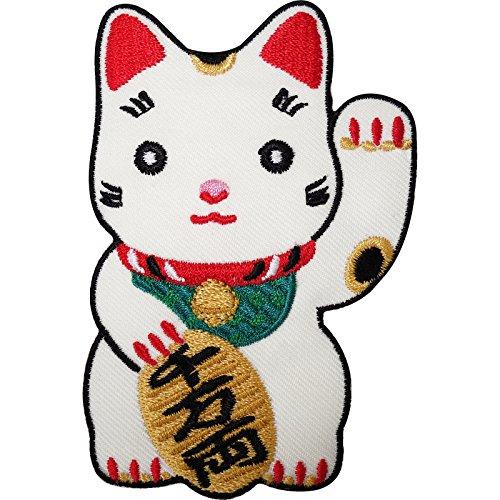 Japonés Lucky saludando gato blanco bordado hierro/sew
