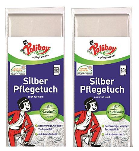 Poliboy - 2x Silber Pflege Tuch - Spezialpoliertuch - Silberputztuch - schmal 28 x 37 cm