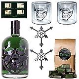 Starkes Absinth-Set mit Hamlet Classic Green Absinth - 2x Totenkopf Absinth-Gläser - 2x Absinth-Löffel - 1x Zuckerwürfel - Ohne künstlichen Farbstoff