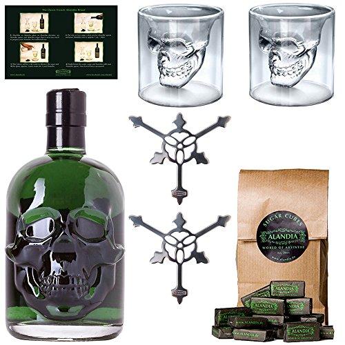 Starkes Absinth-Set | 1x Hamlet Classic Green Absinth | 2x Totenkopf Absinth-Gläser | 2x Absinth-Löffel | 1x Zuckerwürfel | Ohne künstlichen Farbstoff