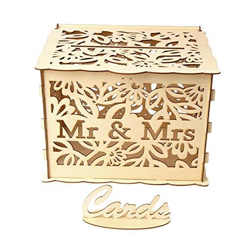 Hölzerne Münzen Aufbewahrungsbox Spardose mit Carving Arbeit und Schloss DIY Hochzeit Geschenk Karte Box Holz Spardose mit Schloss Schöne Hochzeitsdekoration Lieferungen für Geburtstagsfeier.