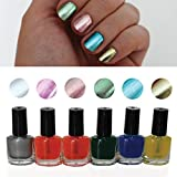 8 Pc Chrome Metallic Nail Polish Varnish By Kurtzy - 3 Stage Nail Polish With 8ml Bottle Including Primer, Base Coat and Lacquer - Suitable For Home and Professional Salon Use - Perfect Gift