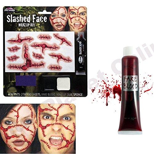 Zerschnitten Gesicht Make Up Kit & Künstliches Blut Halloween Kostüm