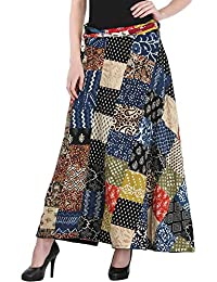 [Sponsored]Exotic India Wrap-Around Casual Long Skirt With Printed Patch-work
