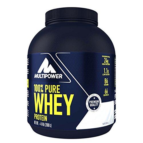Multipower 100{4c59878c2caa4317c1359d3989af5d97e40a2ac04a6c68d39be4349ecefe1ee0} Pure Whey Protein, lösliches Whey Proteinpulver ohne Aspartam und Gluten, enthält essentielle Aminosäuren (BCAA), Eiweißpulver zum Backen und Kochen, Neutral, 2 kg