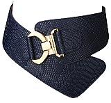 Damen Frauen PU Leder Gürtel Mode Strukturierte Einfarbig Breite elastische Gürtel Tailleband (Blau)