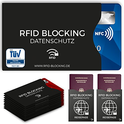 TÜV geprüfte RFID Blocking NFC Schutzhüllen (12 Stück) für Kreditkarte, Personalausweis, EC-Karte, Reisepass, Bankkarte, Ausweis - 100{35188a87449798fdd297f621be70a4dd8a61b75aab45979781f77f0b7bb85bc1} Schutz gegen unerlaubtes Auslesen - Kreditkarten RFID Blocker