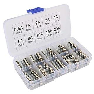 Gebildet® 150 Stücke 5x20mm Schnelle Schlag Glassicherung, Fast-Schlag Glas Sicherungen Assortierte Kit, 0.5A 1A 2A 3A 4A 5A 8A 10A 15A 20A