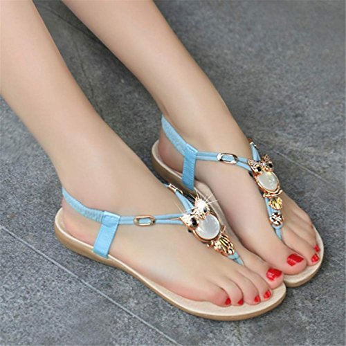 LHWY Damen Strass Owl Sweet Sandalen Clip Toe Sandals Beach shoes Blau