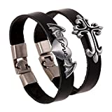 Search : Couples His & Hers Leather Bracelet Bangle Cuff Wristband Rock Punk Biker for Lovers 2 Pieces