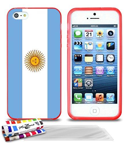 Ultraflache weiche Schutzhülle APPLE IPHONE 5S / IPHONE SE [Flagge Argentinien] [Grau] von MUZZANO + STIFT und MICROFASERTUCH MUZZANO® GRATIS - Das ULTIMATIVE, ELEGANTE UND LANGLEBIGE Schutz-Case für  Rot + 3 Displayschutzfolien