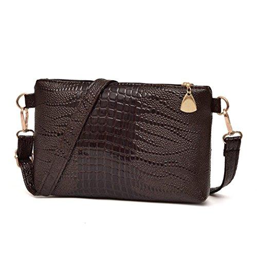 Schultertasche Damen Sunday Frauen Fashion Handtasche Krokodil Muster Schultertasche Kleine Tote Geldbörse Schultertasche Reißverschluss (Lila) -