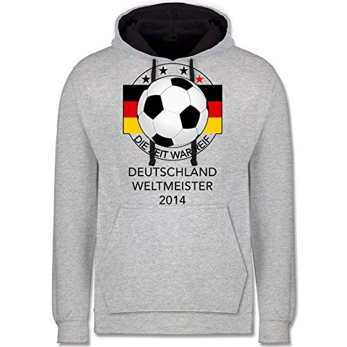 Fußball - Deutschland Weltmeister 2014 - Die Zeit war reif - Kontrast Hoodie Grau meliert/Dunkelblau