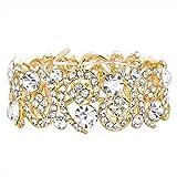 Ever Faith Damen Österreichische Kristallhochzeit Hohle Floral Wave Stretch-Armband Klar Gold-Ton
