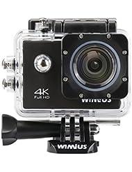 Camara Deportes WiMiUS Q1 4K 1080p 60fps cámara de WiFi Acción Acción leva video DV de alta definición con 2 baterías y cargador y soporte de la caja a prueba de agua, etc. (Negro)