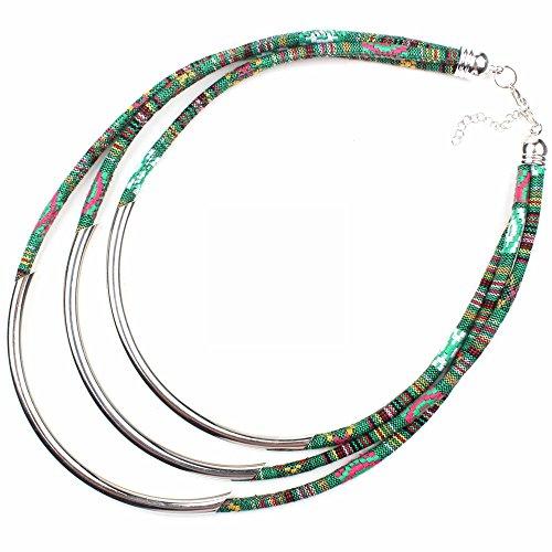 Claire Jin Multi-capa Collar étnico Boheme Cobre Cuerda de Tela Mujer