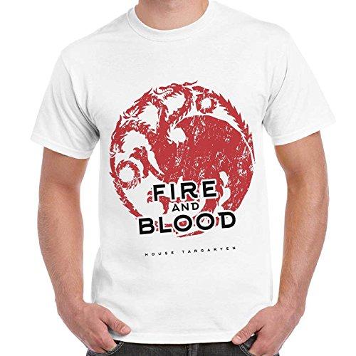 CHEMAGLIETTE! - Maglietta Game Of Thrones House Targaryen Case Trono Di Spade T-Shirt Uomo Dd, Colore: Bianco, Taglia: M