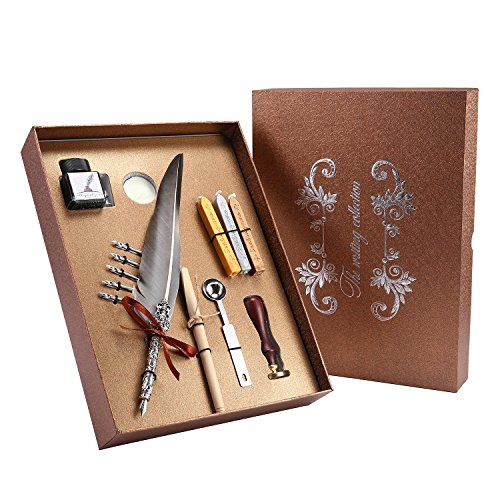 (Pawaca Vintage Federkiel Dip Pen Ink Set-Calligraphy Pen Set Schreiben einsehbar Dip Pen mit 5Metall Federn, Dip Pen Set Antik Feder Kupfer Stiel Kalligrafie einsehbar Tinte Dip Pen. Grau)