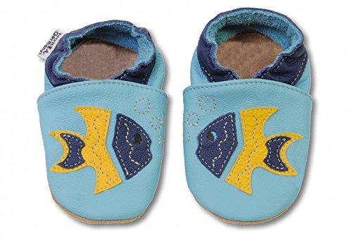 HOBEA-Germany Krabbelschuhe in verschiedenen Farben und Designs mit Tieren , Schuhgröße:20/21 (12-18 Monate), Modell (Schuhe Fisch Mit)