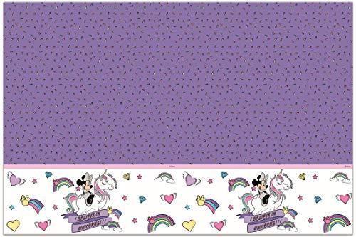 Procos 90228 Tischdecke Disney Minnie Mouse mit Einhorn, Unicorn aus Plastik, lila, weiß